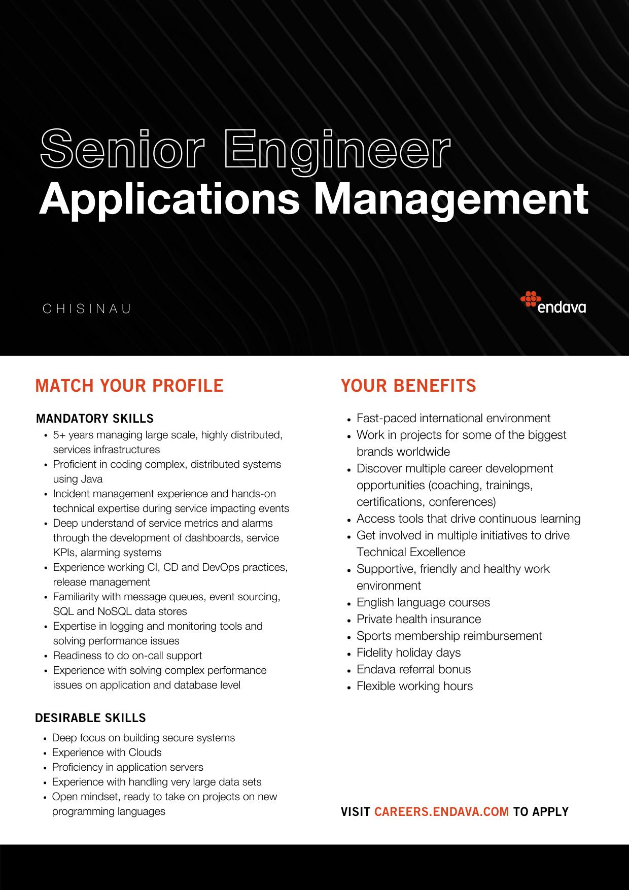 Senior Engineer Applications Management at Endava